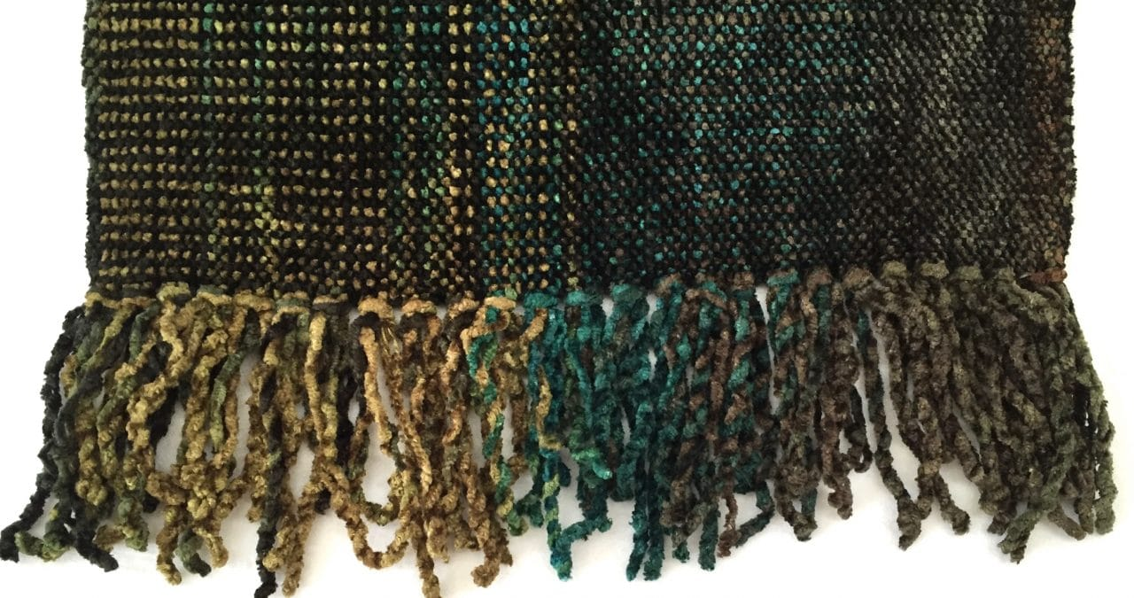 Browns, Turquoise - Bamboo Chenille Handwoven Scarf 8 x 68