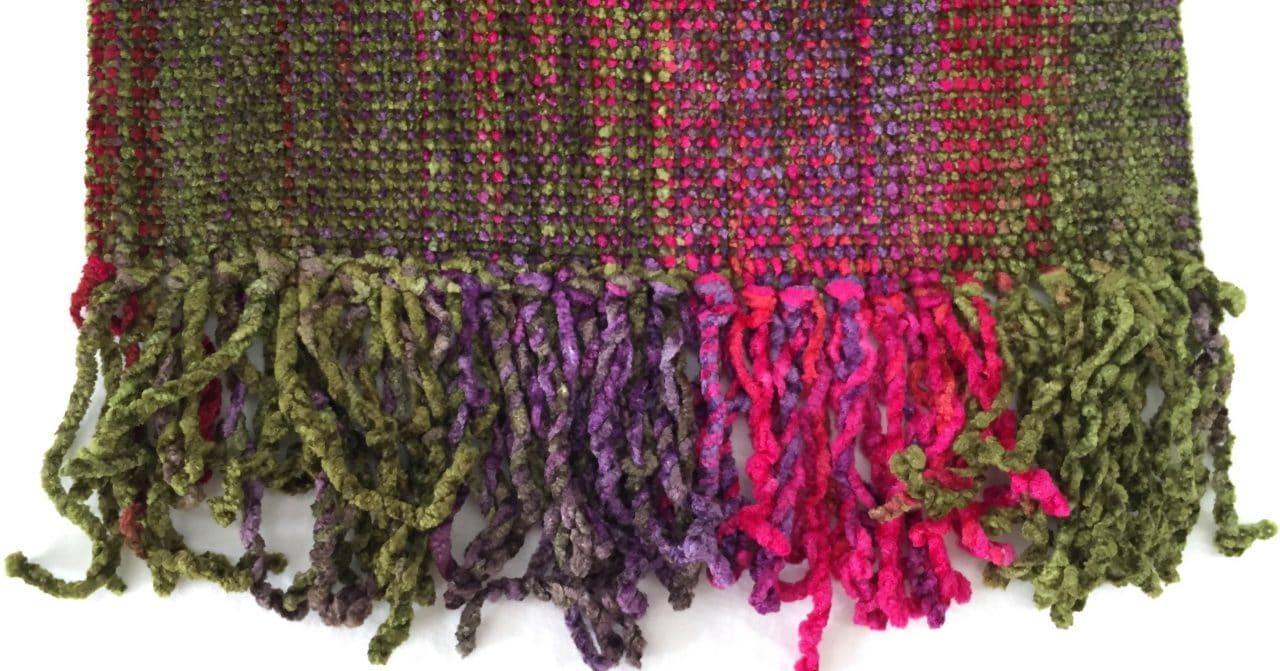 Fuchsia, Olive, Purple - Bamboo Chenille Handwoven Scarf 8 x 68