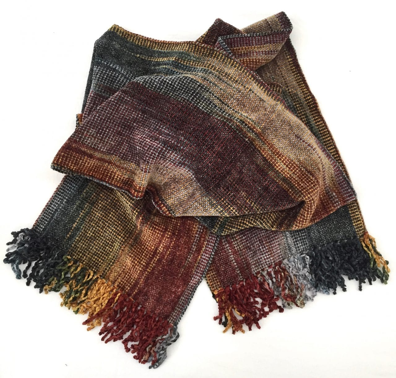 Gold, Burgundy, Black, White, Gray - Bamboo Chenille Handwoven Scarf 8 x 68