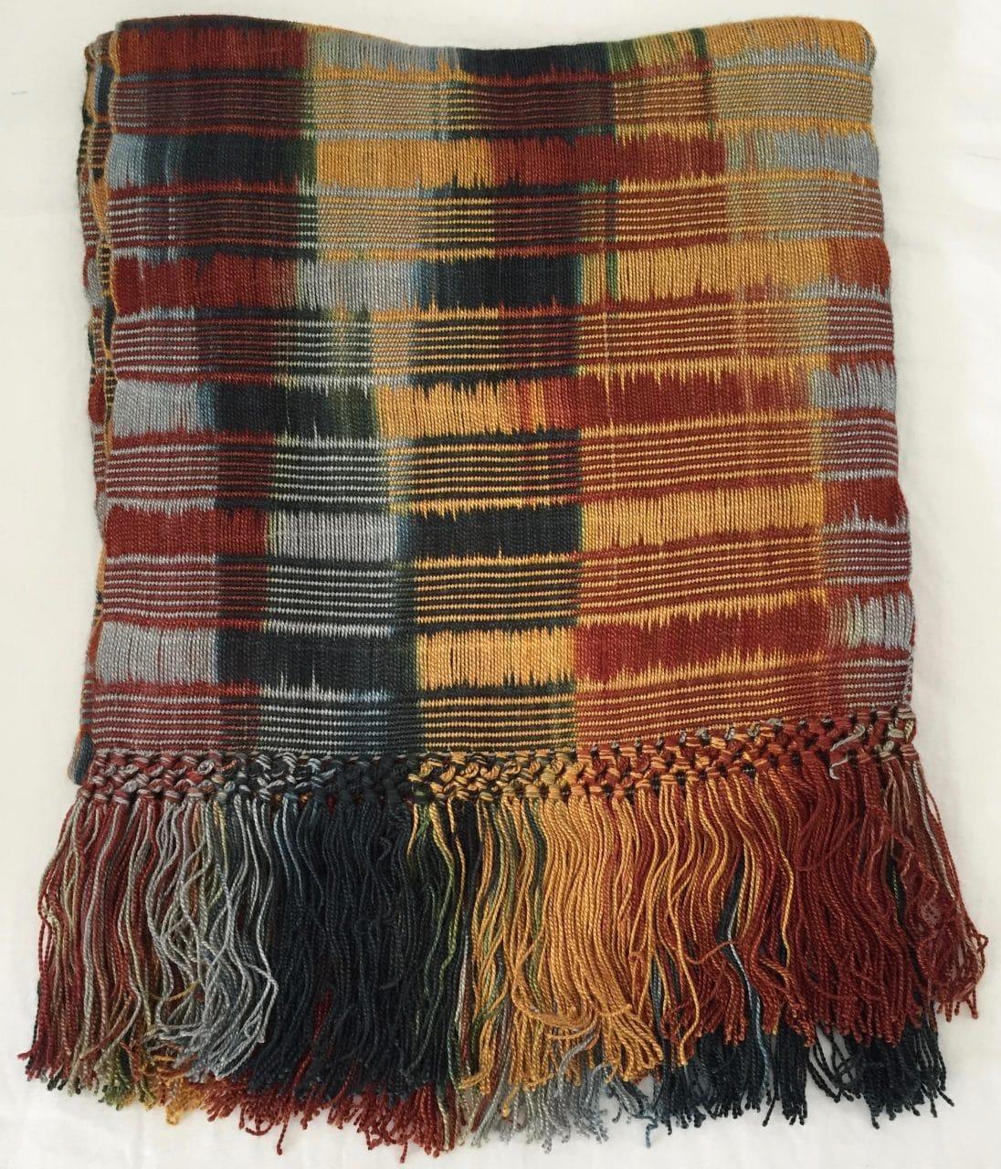 Gold, Burgundy, Black, White, Gray - Lightweight Bamboo Open-Weave Handwoven Scarf 8 x 68