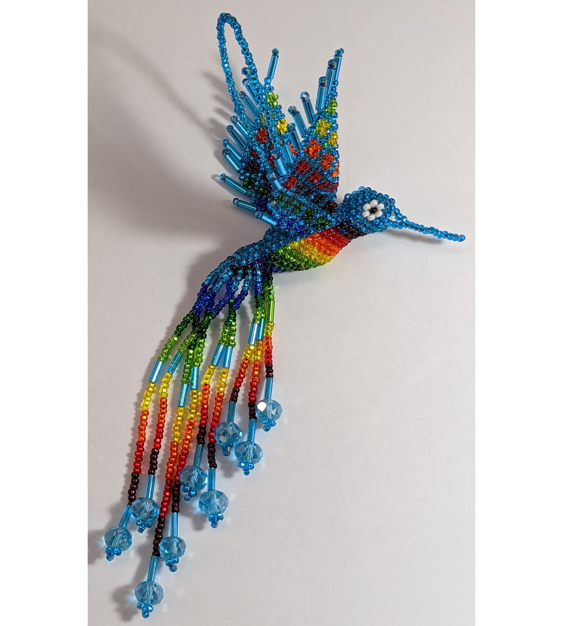 Hummingbird Beaded Ornament - Rainbow with Celestial Blue