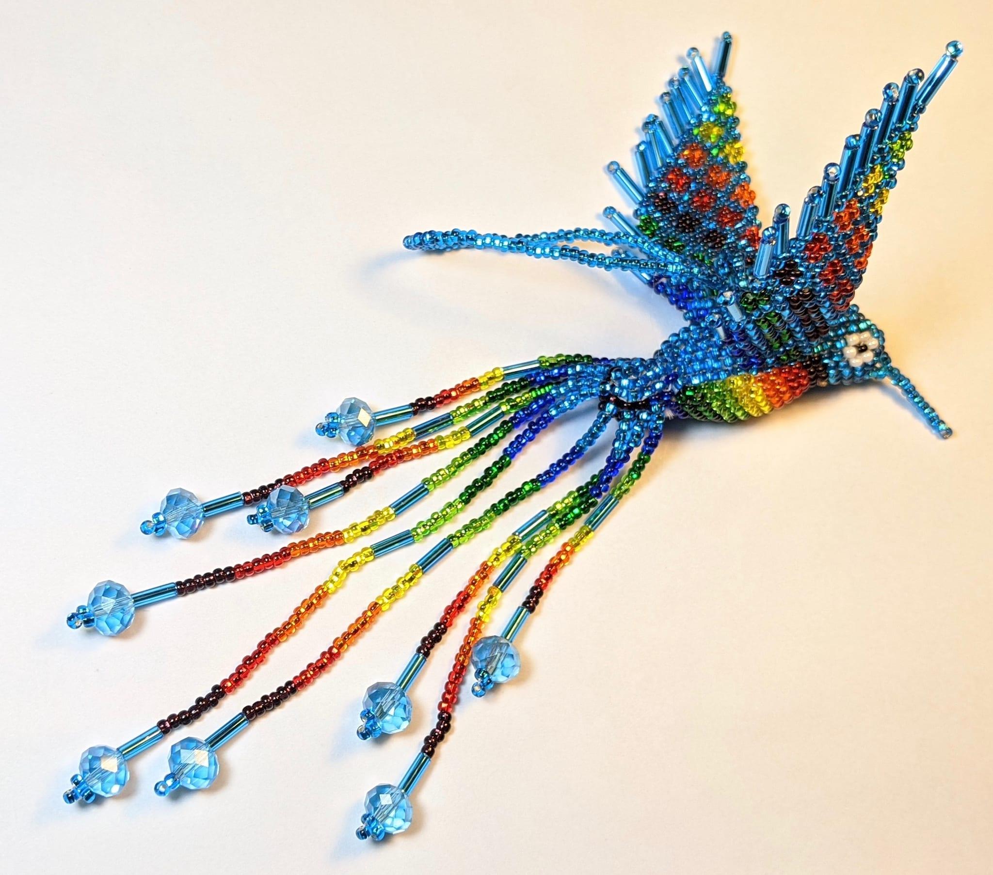 Hummingbird Beaded Ornament - Rainbow with Celestial Blue