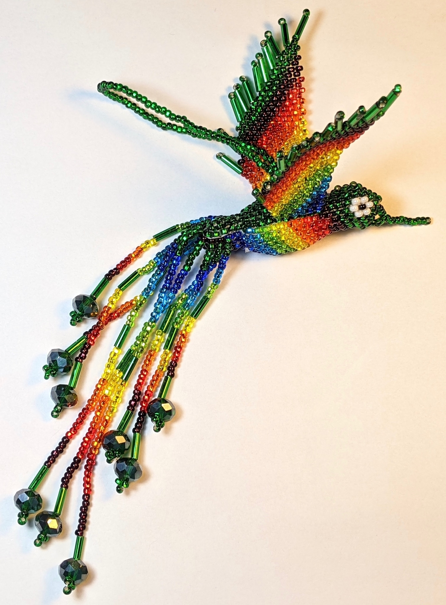 Hummingbird Beaded Ornament - Rainbow with Deep Green