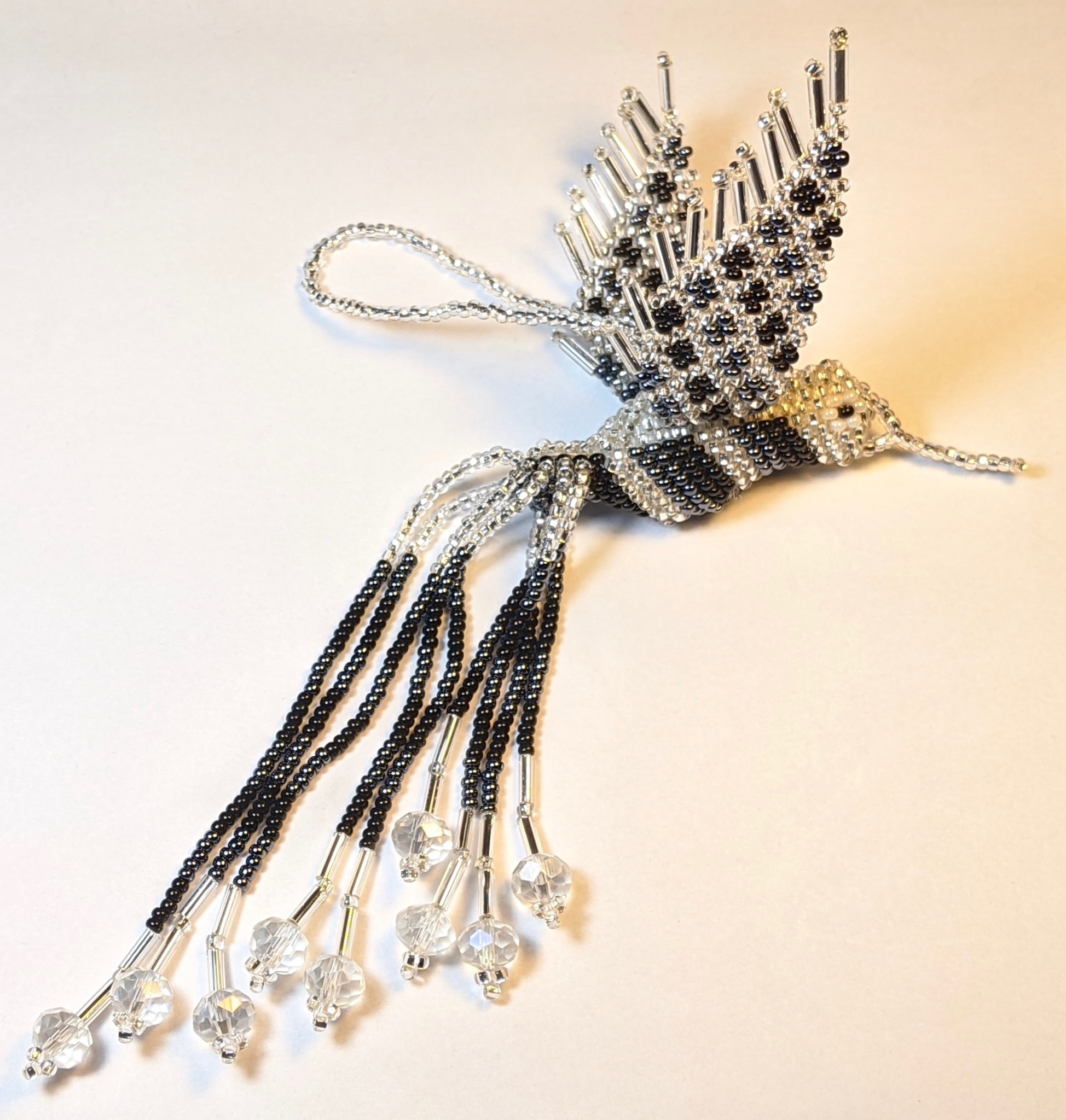 Hummingbird Beaded Ornament - Black, Hematite Gray, and Silver White