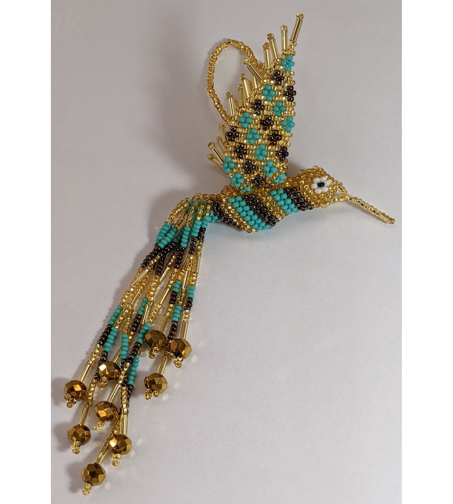 Hummingbird Beaded Ornament - Gold, Turquoise, and Iridescent Brown
