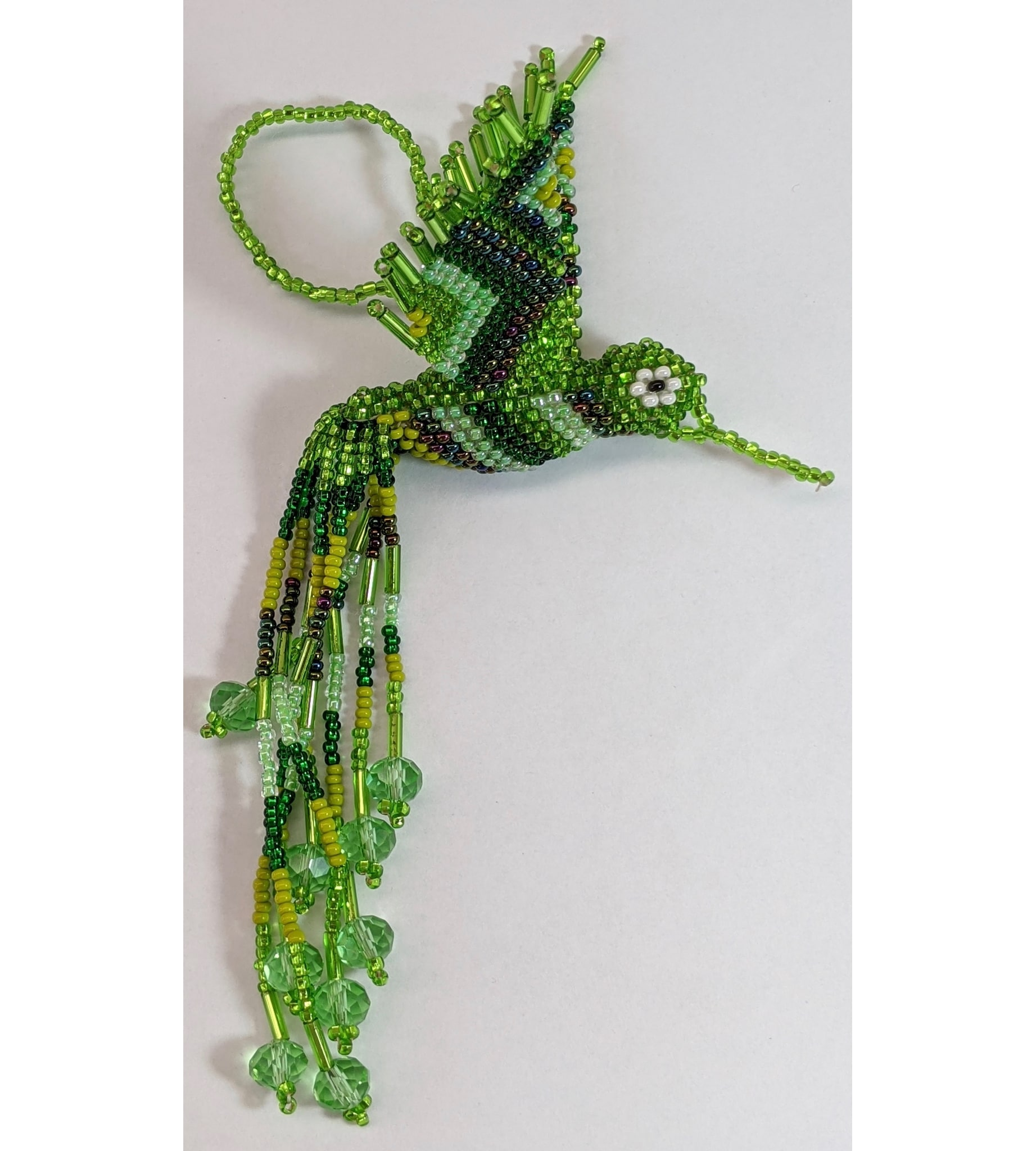 Beaded Hummingbird Beaded Ornament - Greens and Lime Green