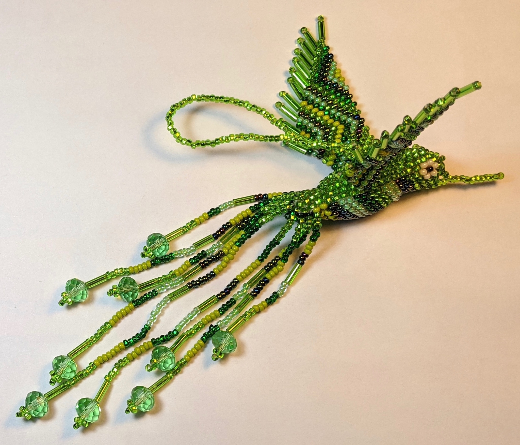Hummingbird Beaded Ornament - Greens and Lime Green