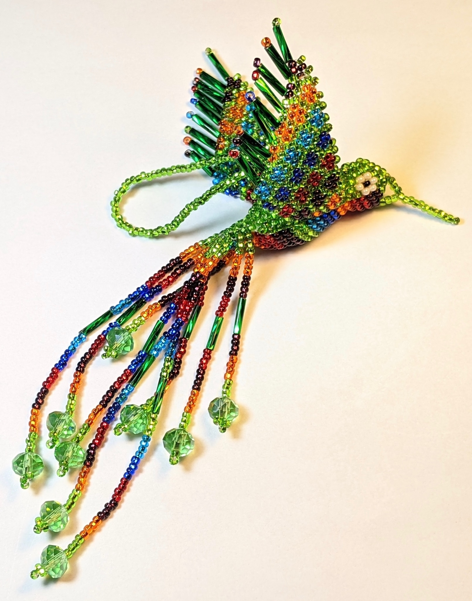 Hummingbird Beaded Ornament - Multicolor with Lime Green