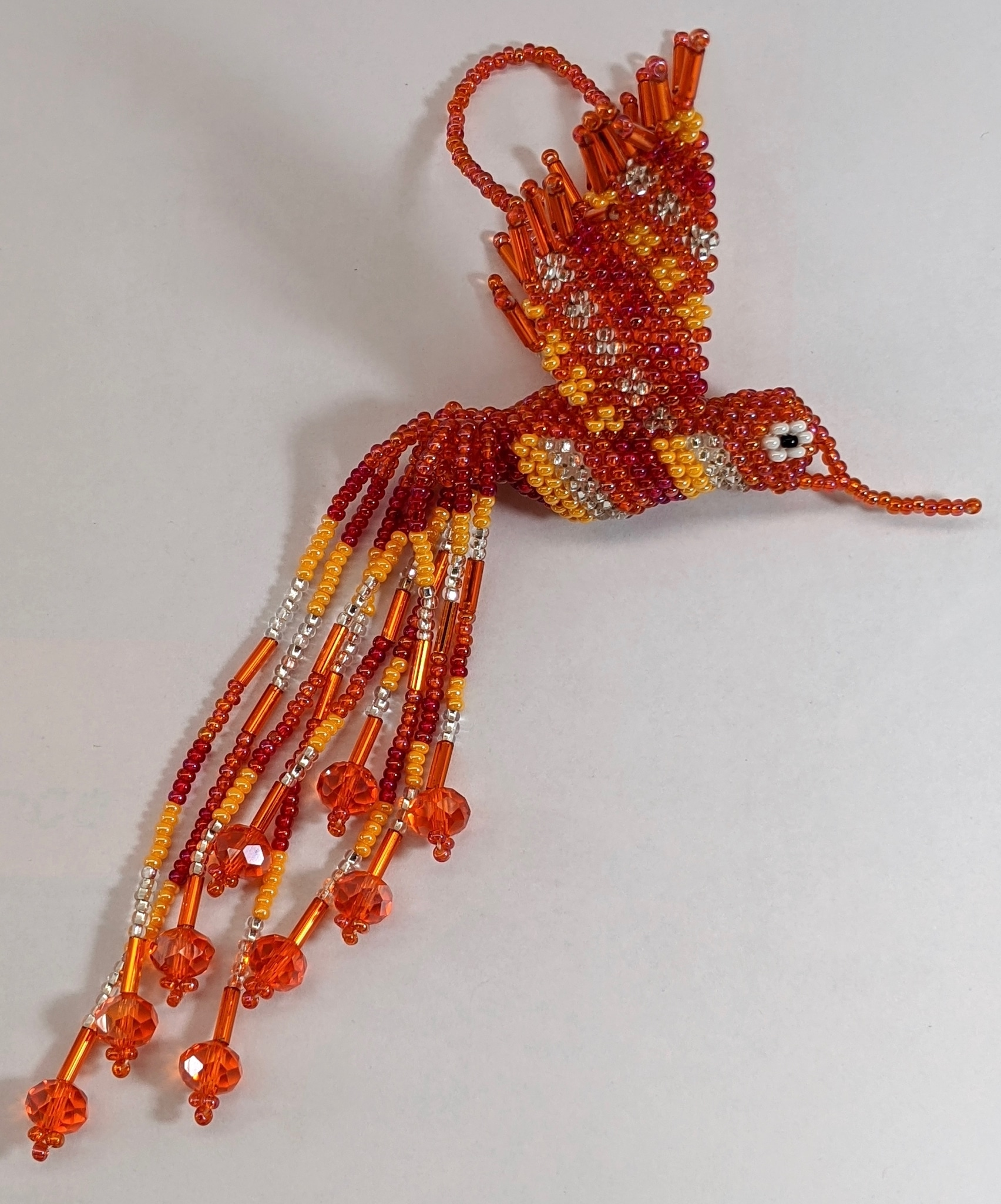 Beaded Hummingbird Beaded Ornament - Oranges and Silver White
