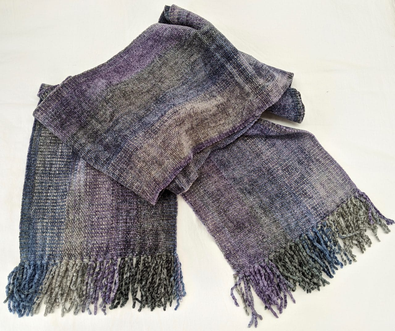 Lilac, Pale Blue, Gray - Bamboo Chenille Handwoven Scarf 8 x 68