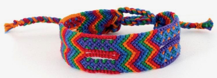 Wide Cotton Colorful Knotted Friendship Bracelet