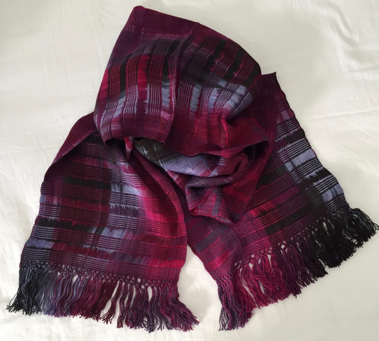 Magenta, Light Violet, Black - Lightweight Bamboo Open-Weave Handwoven Scarf 8 x 68