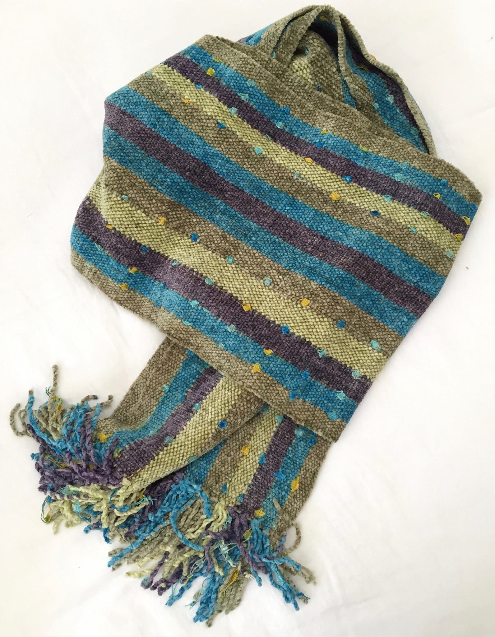 Lilac, Celestial Blue, Pale Green with Ornamental Yarn - Bamboo Chenille Handwoven Scarf 8 x 68