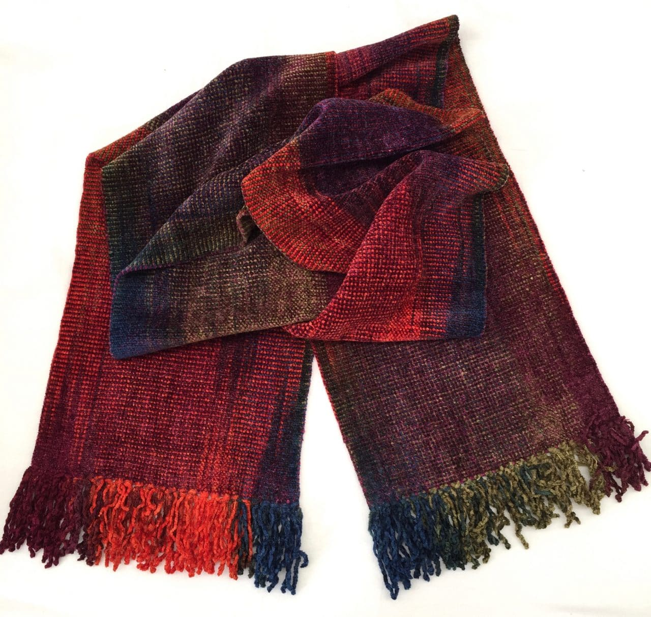 Orange, Blue, Burgundy, Olive - Bamboo Chenille Handwoven Scarf 8 x 68