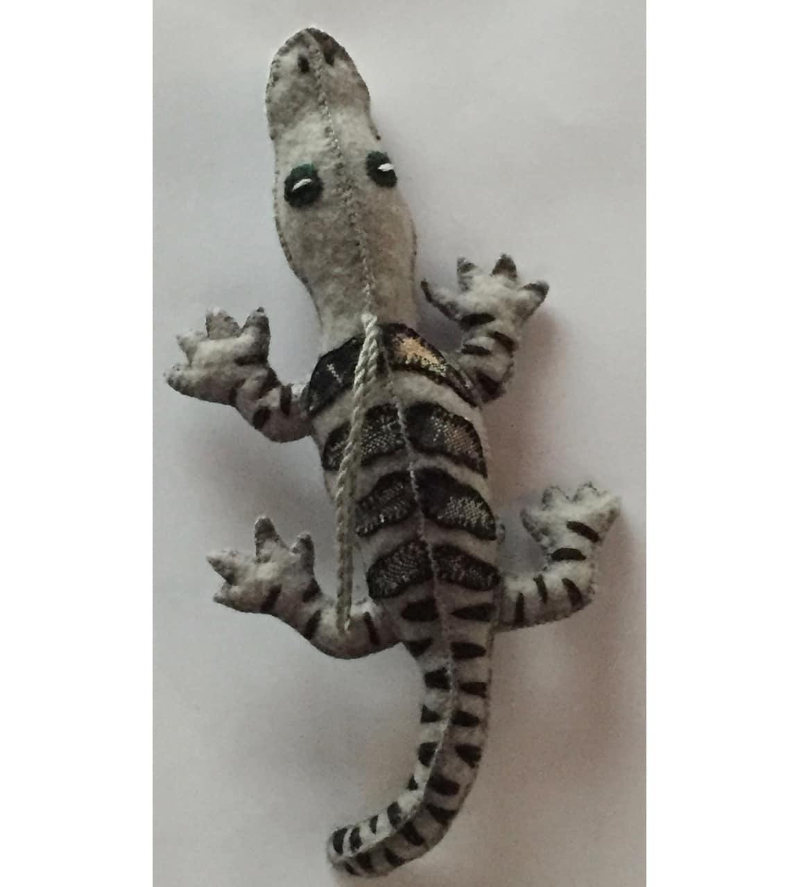 Alligator Ornament - Felt and Repurposed Traditional Fabric