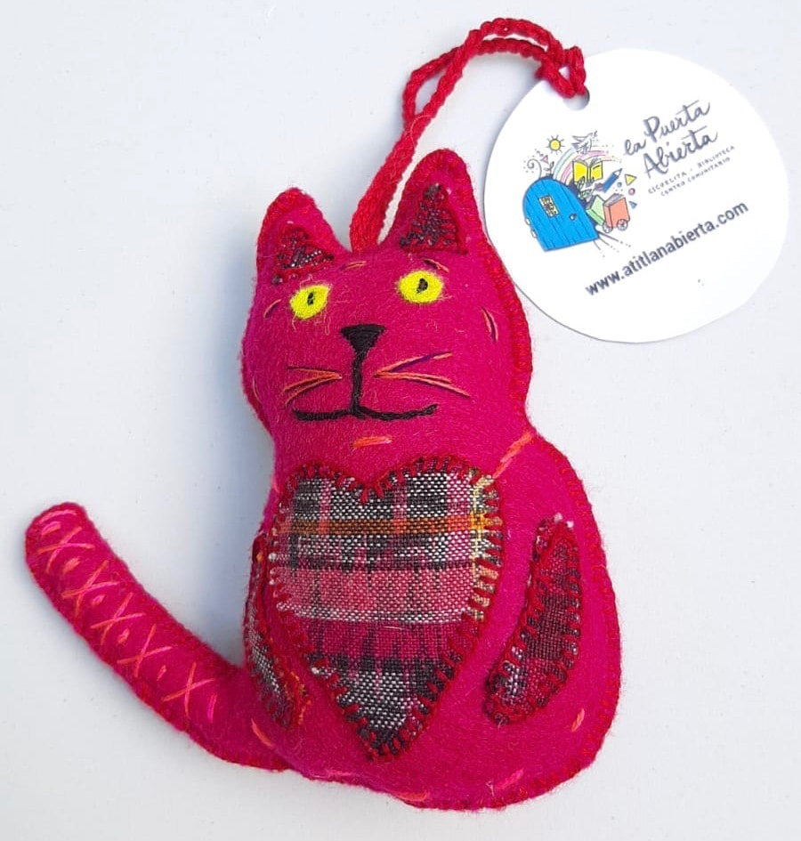 Cat Ornament - Felt and Repurposed Traditional Fabric