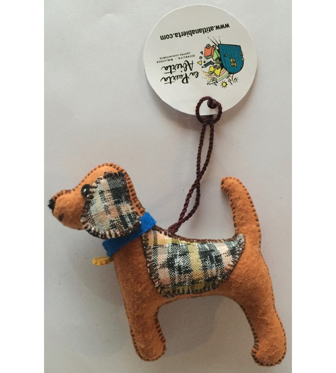 Dog Ornament - Felt and Repurposed Traditional Fabric