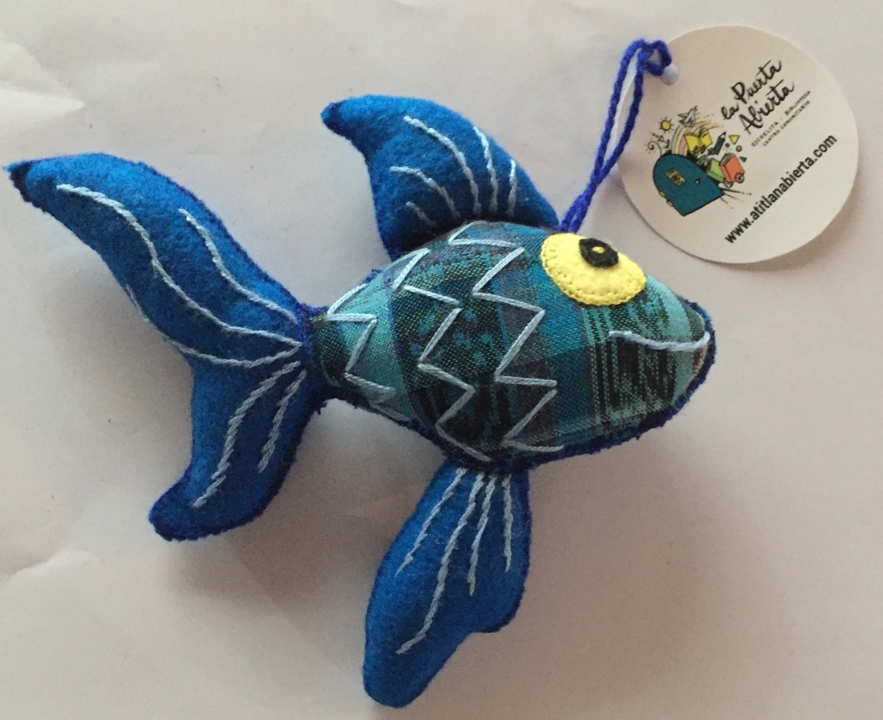 Fish Ornament - Felt and Repurposed Traditional Fabric