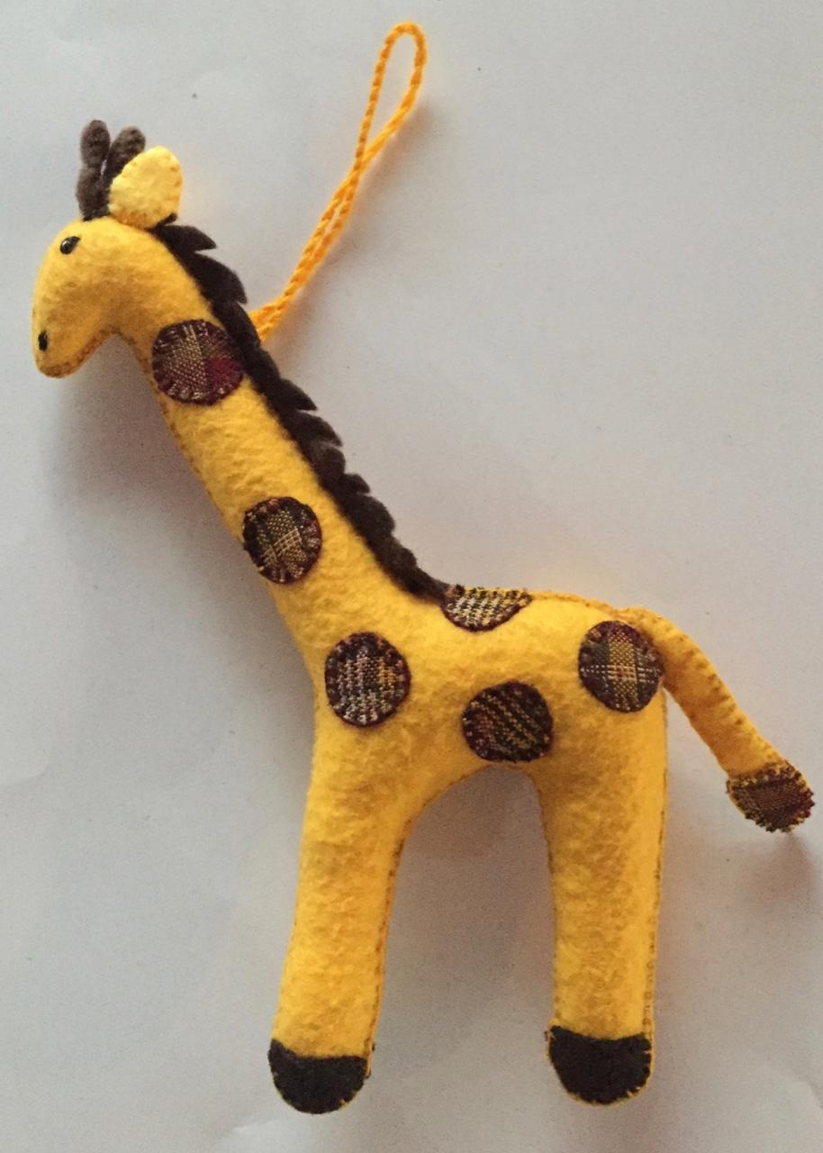 Giraffe Ornament - Felt and Repurposed Traditional Fabric