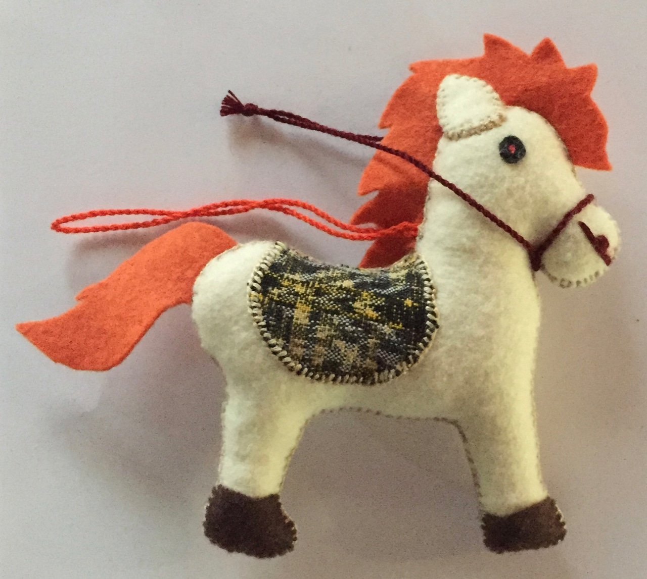 Horse Ornament - Felt and Repurposed Traditional Fabric