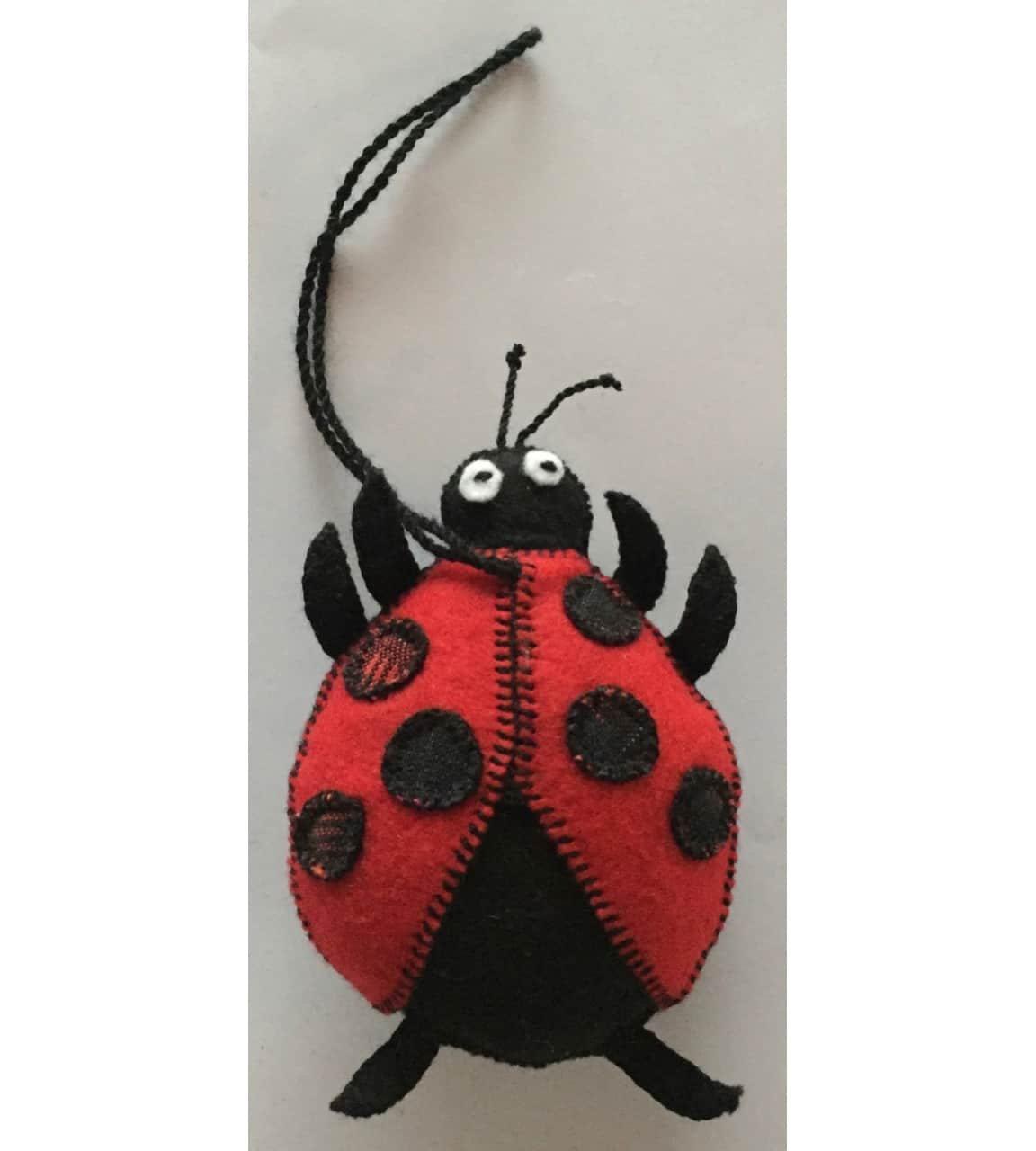 Ladybug Ornament - Felt and Repurposed Traditional Fabric