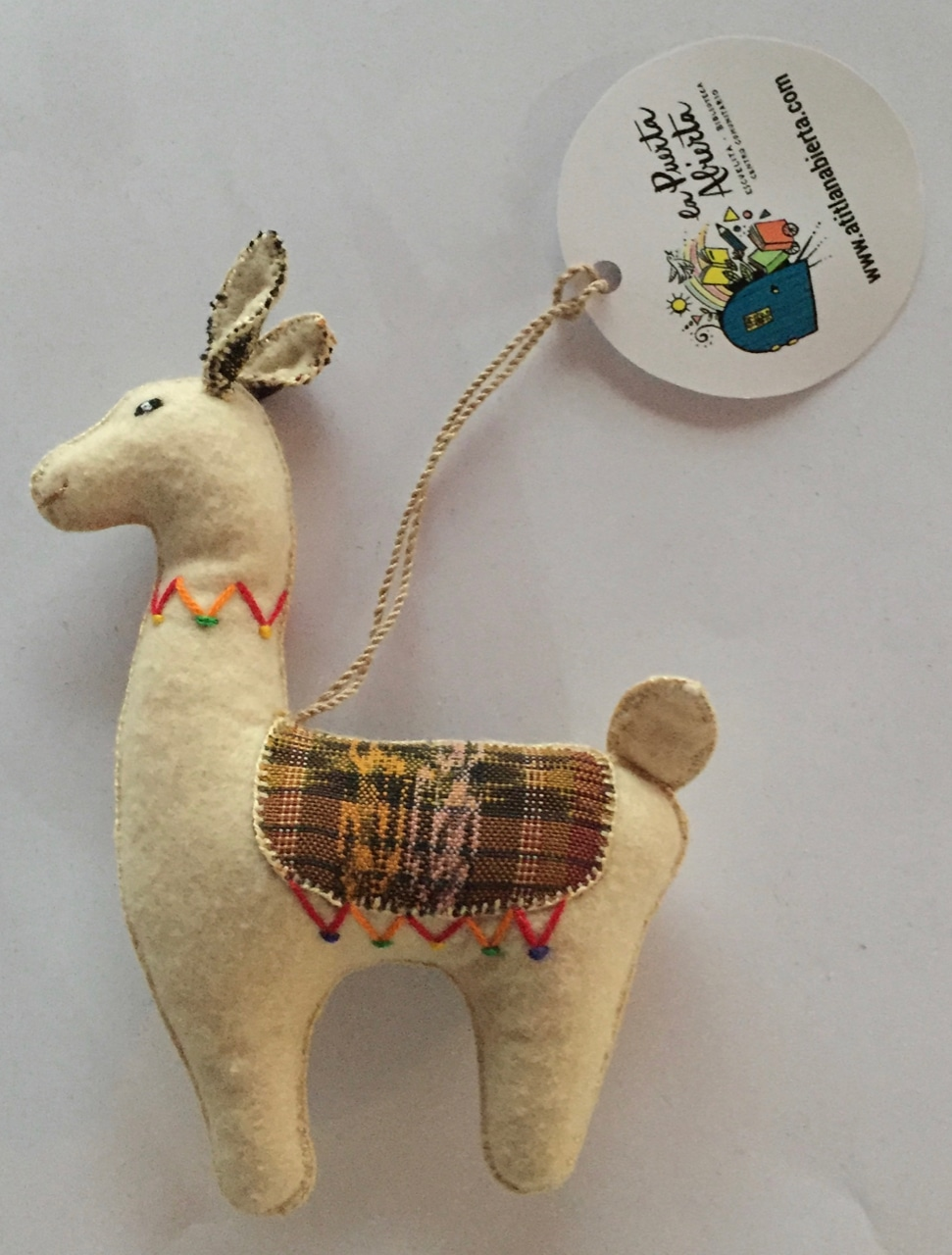 Llama Ornament - Felt and Repurposed Traditional Fabric