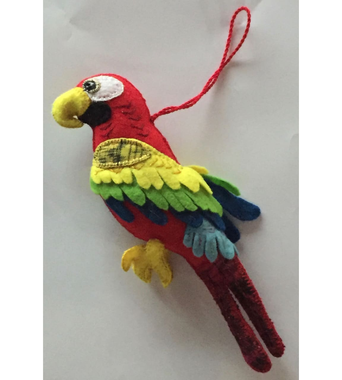 Macaw Ornament - Felt and Repurposed Traditional Fabric
