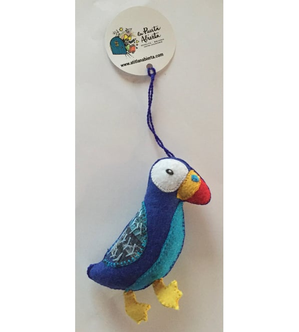 Puffin Ornament - Felt and Repurposed Traditional Fabric