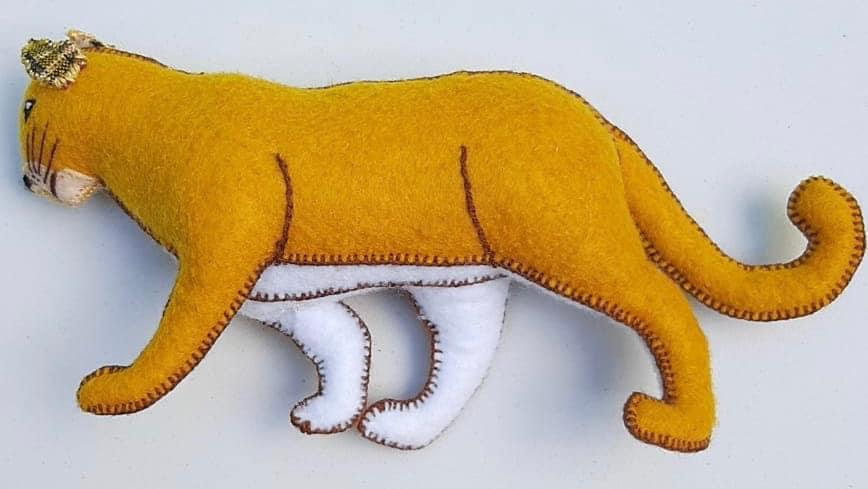Puma Ornament - Felt and Repurposed Traditional Fabric