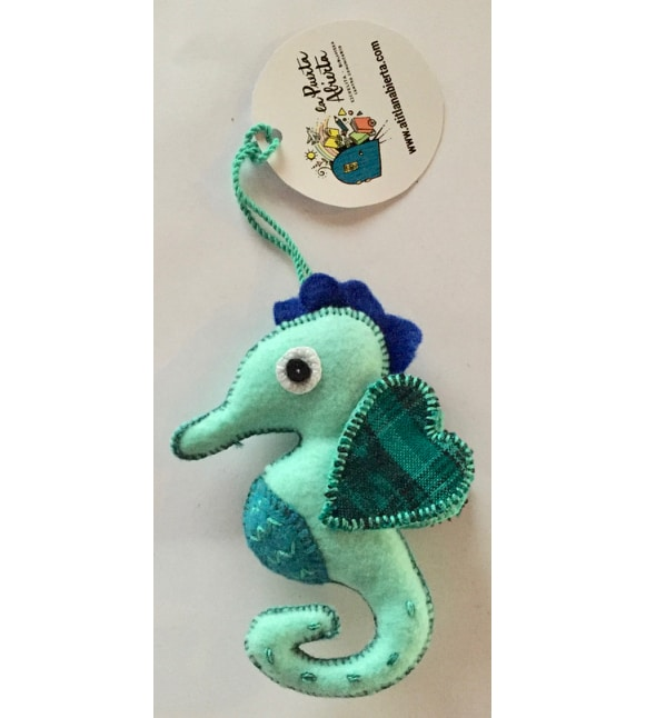 Seahorse Ornament - Felt and Repurposed Traditional Fabric