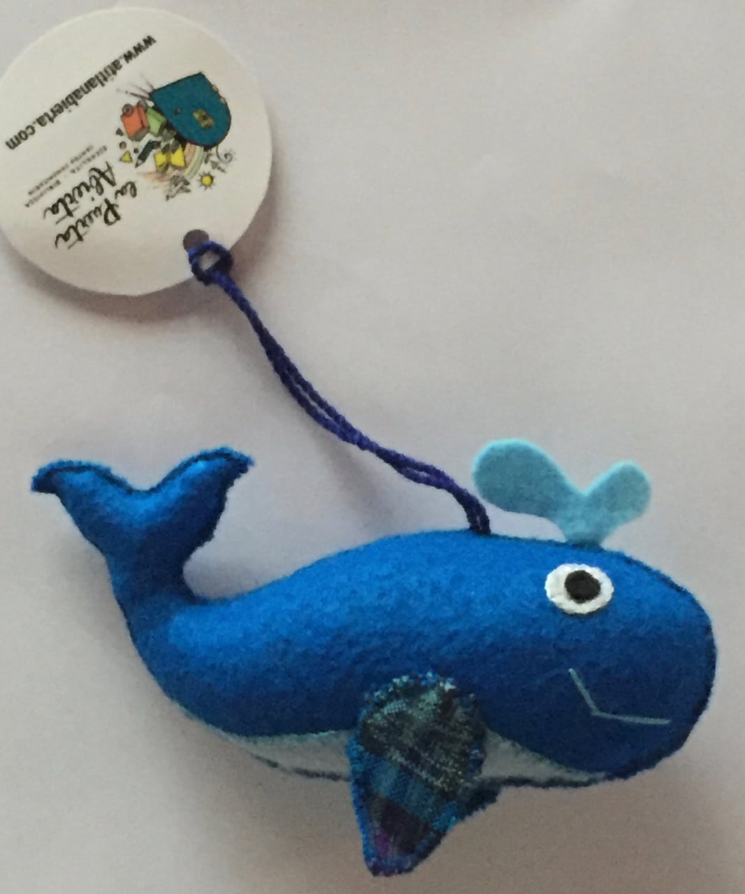 Whale Ornament - Felt and Repurposed Traditional Fabric
