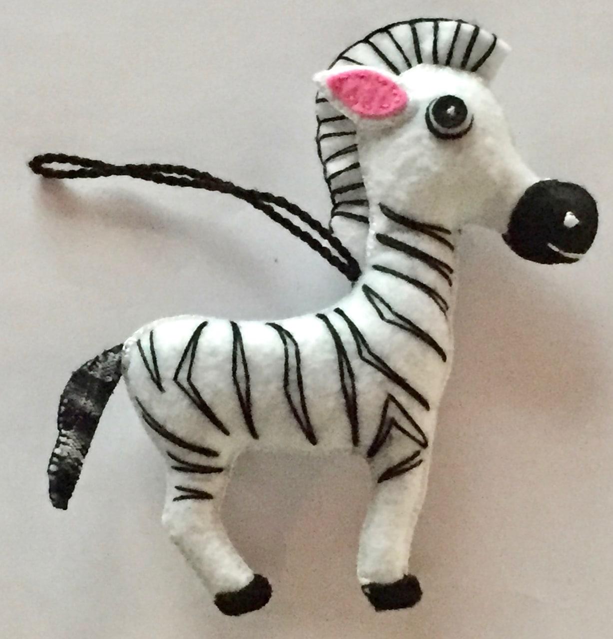 Zebra Ornament - Felt and Repurposed Traditional Fabric
