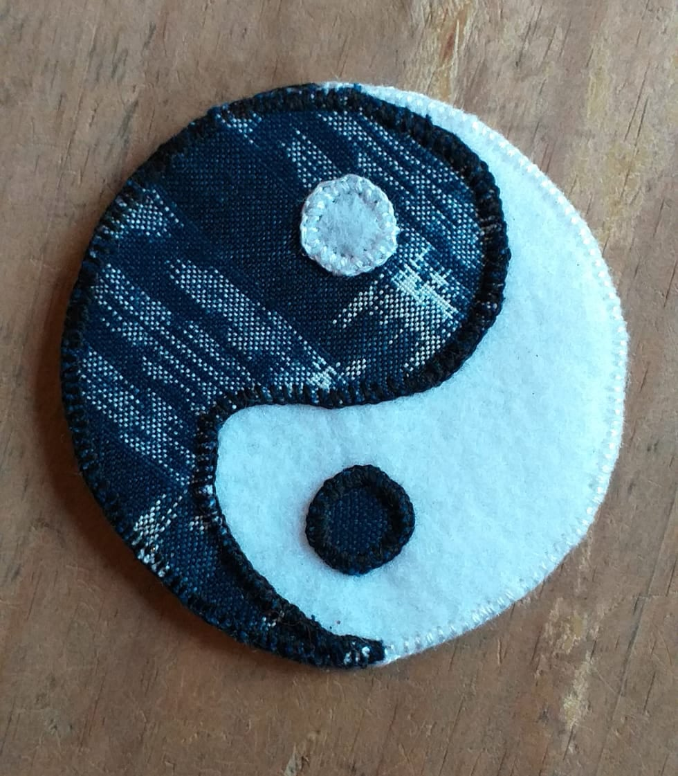 Yin Yang Patch - Felt and Repurposed Traditional Fabric