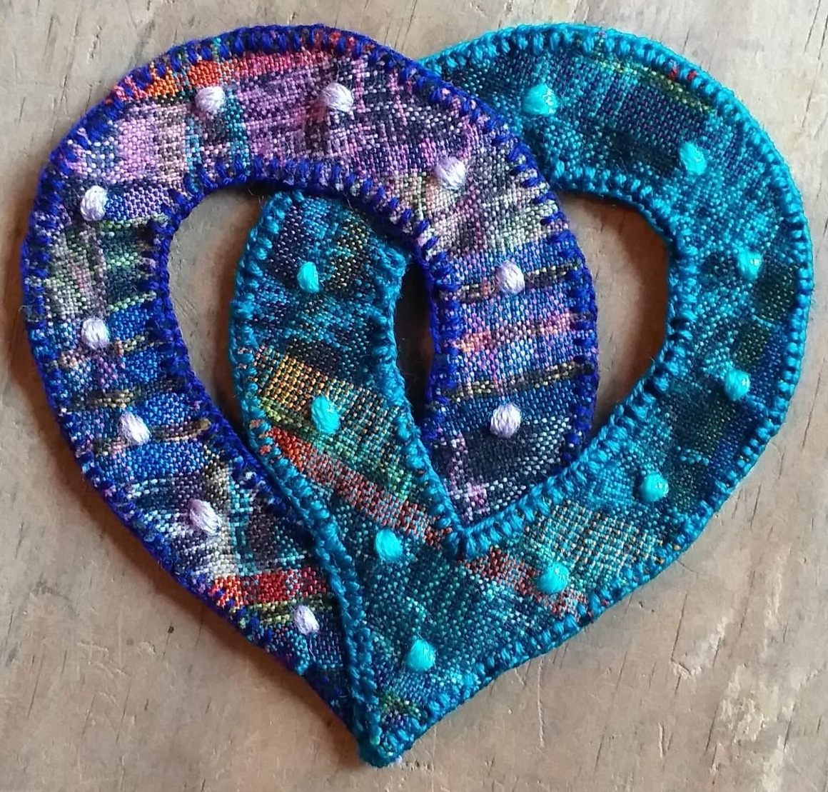 Hearts Interlocking Patch - Felt and Repurposed Traditional Fabric