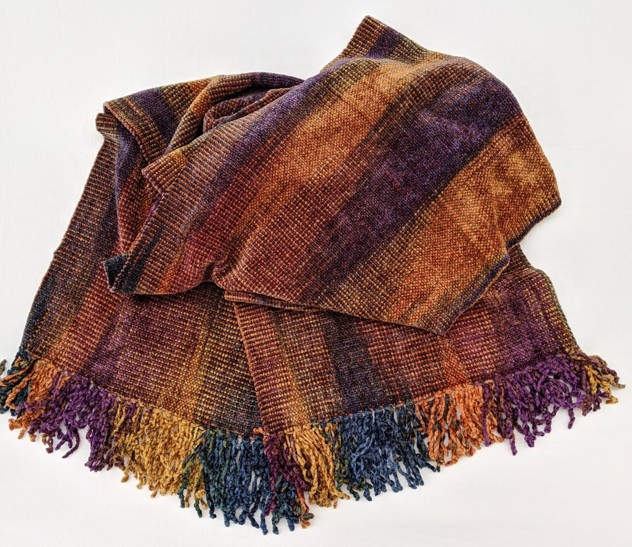 Purple, Apricot, Blue - Bamboo Chenille Scarf - Space-Dyed 8 x 68