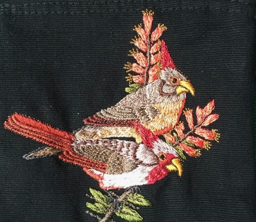Pyrrhuloxia Thread Painted Cotton Coin Purse
