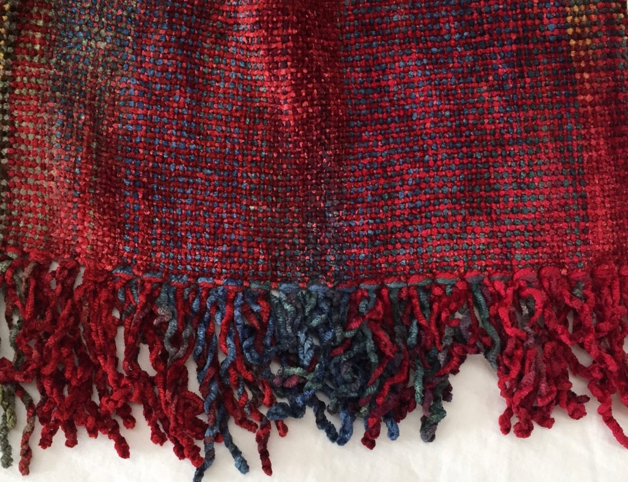 Red, Blue, Light Coffee - Bamboo Chenille Handwoven Scarf 8 x 68