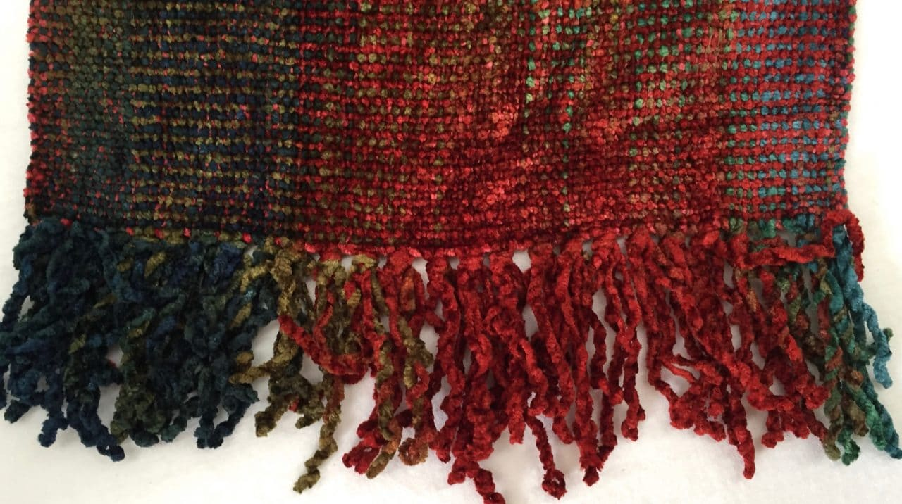 Red, Olive, Brown, Blue, Purple - Bamboo Chenille Handwoven Scarf 8 x 68