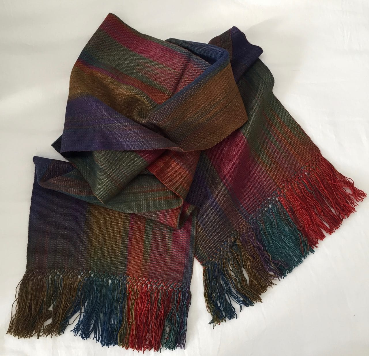 Red, Olive, Brown, Blue, Purple - Lightweight Bamboo Handwoven Scarf 8 x 68