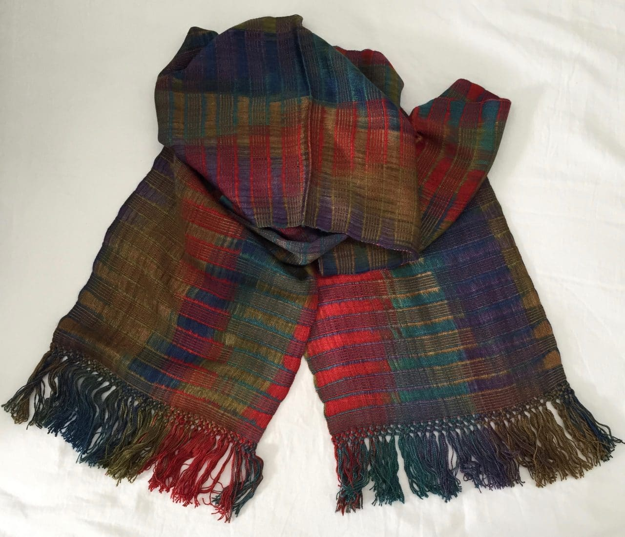 Red, Olive, Brown, Blue, Purple - Lightweight Bamboo Open-Weave Handwoven Scarf 8