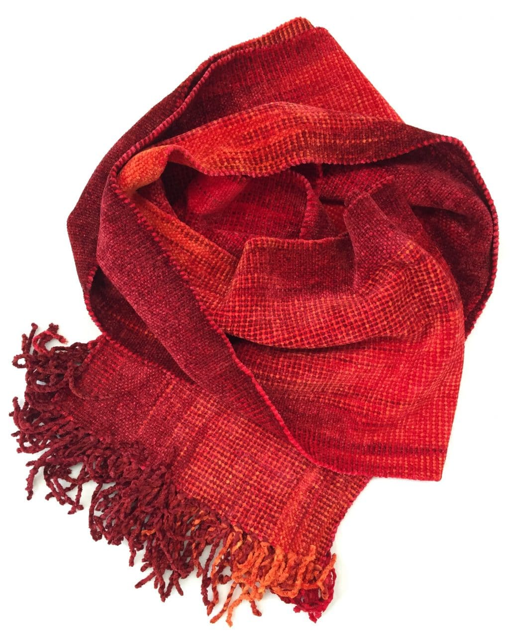 Red, Orange - Bamboo Chenille Handwoven Scarf 8 x 68
