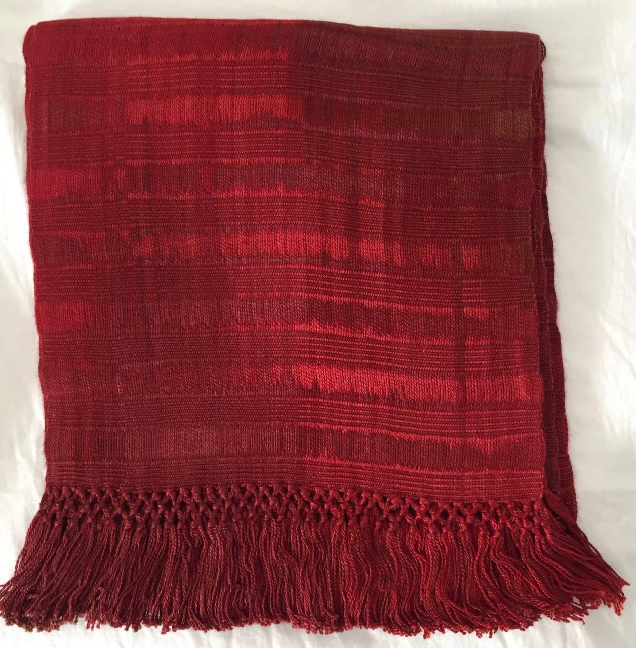 Reds - Lightweight Bamboo Open-Weave Handwoven Scarf 8 x 68