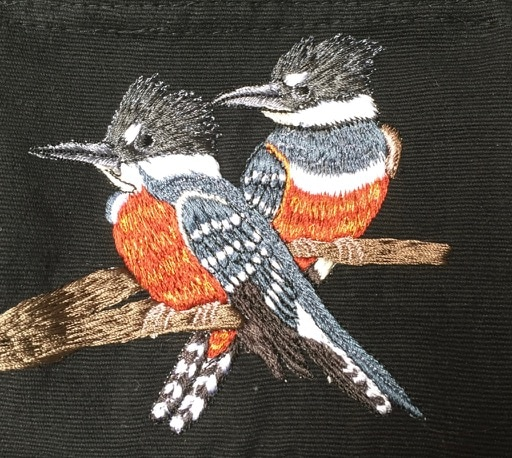Ringed Kingfishers Thread Painted Cotton Coin Purse