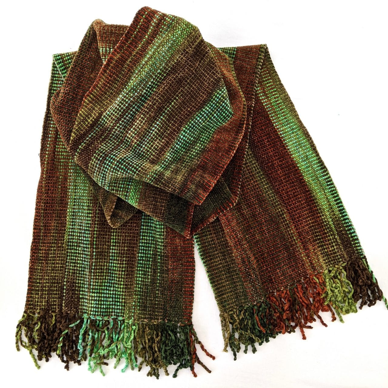 Turquoise, Brick, Green, Brown - Bamboo Chenille Handwoven Scarf 8 x 68