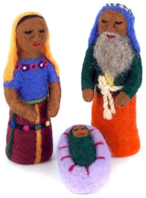 Felted Wool Mayan Nativity