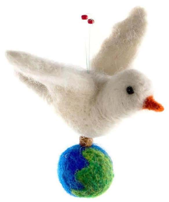 Felted Wool Peace Dove with the World Ornament
