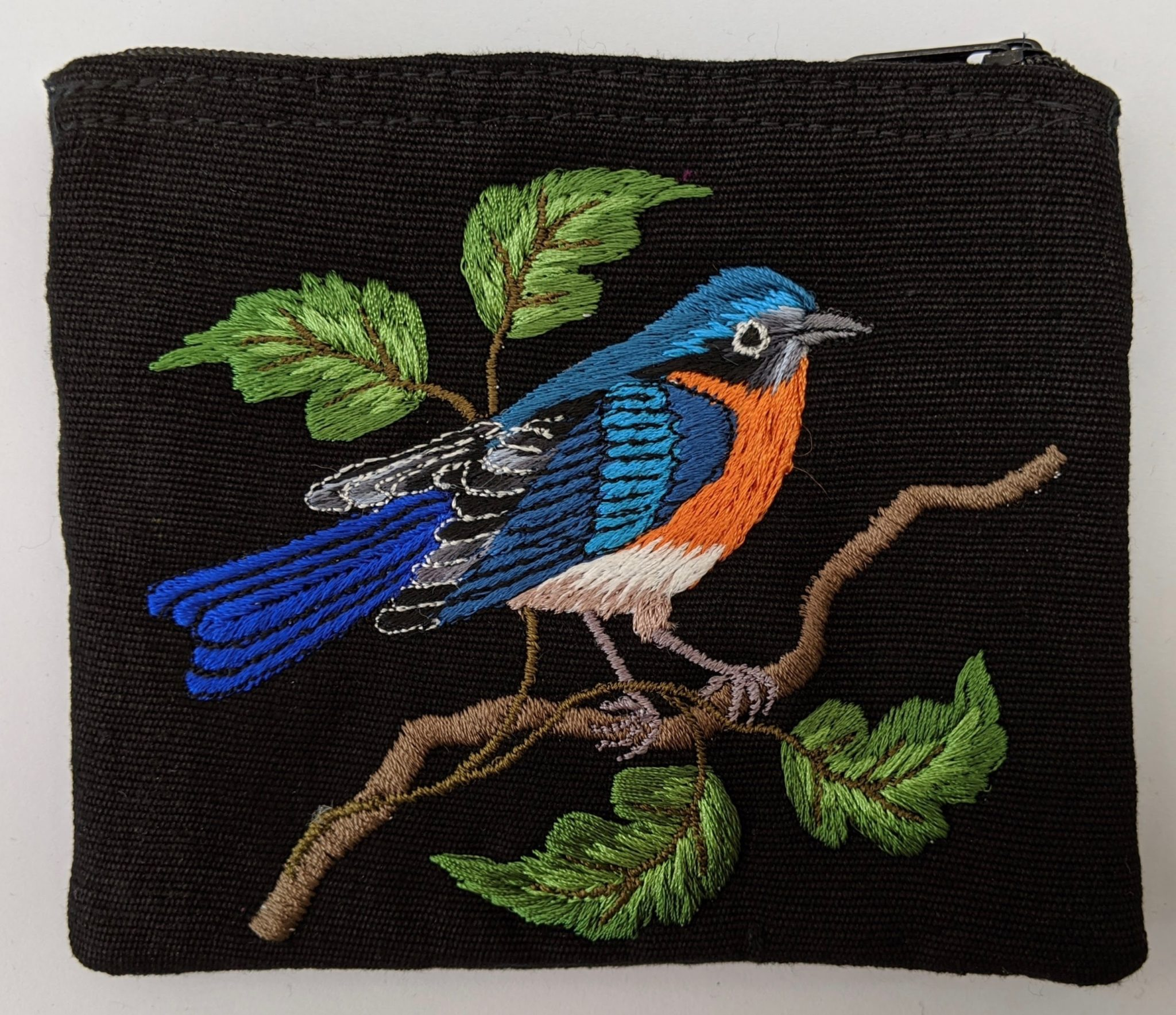 Eastern Bluebird Thread Painted Cotton Coin Purse
