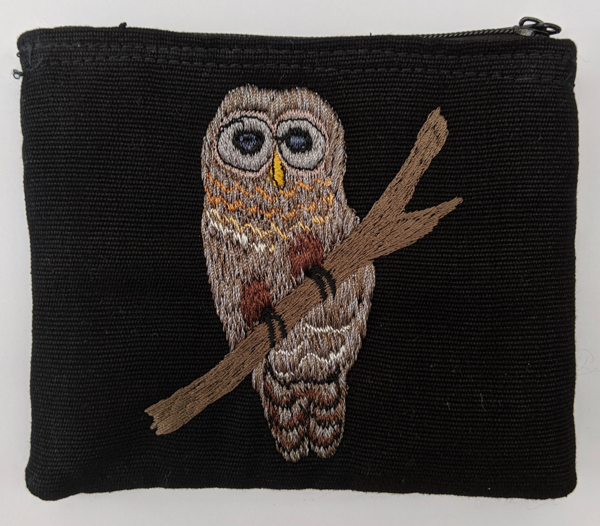 Barred Owl Thread Painted Cotton Coin Purse
