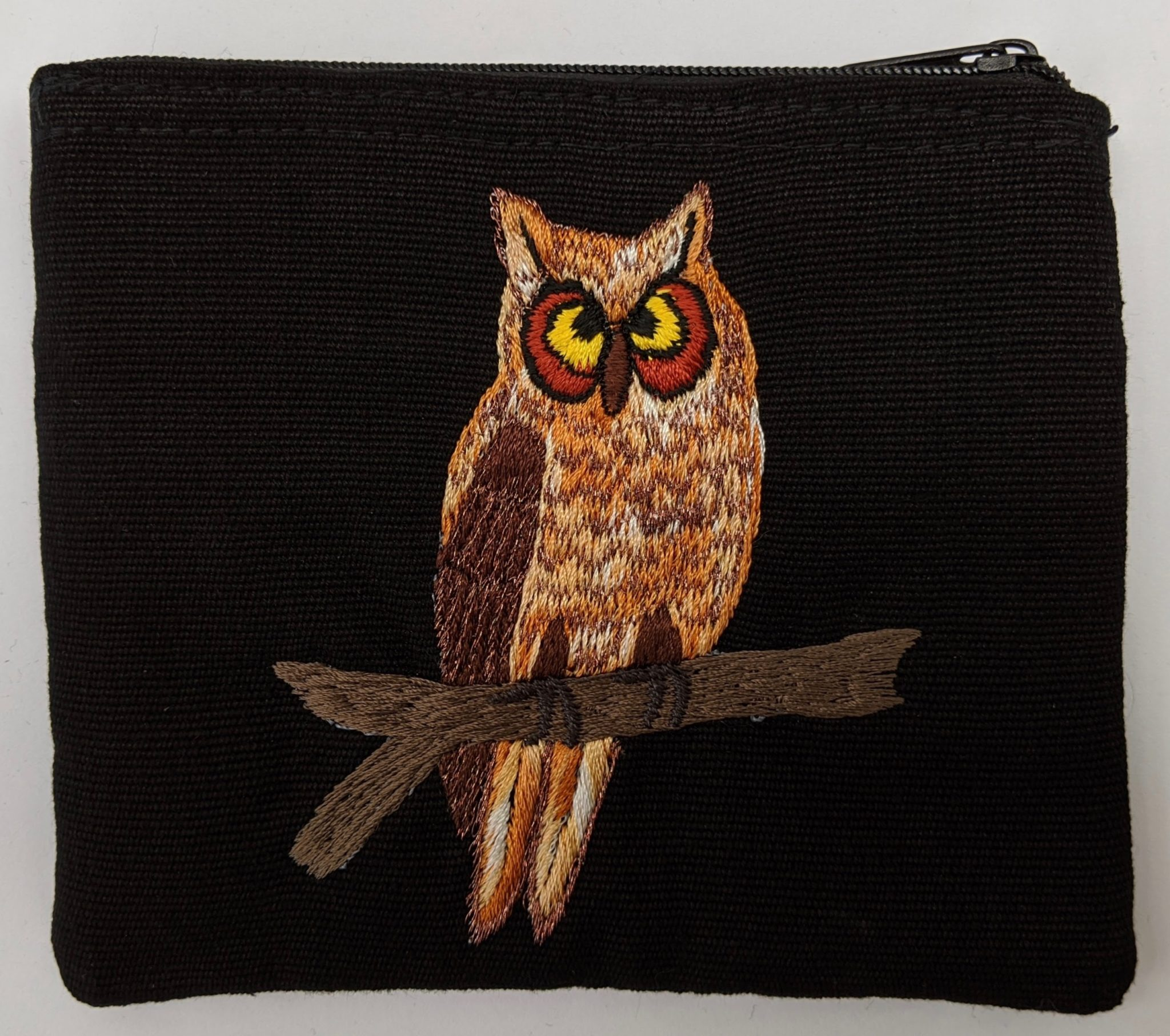 Great Horned Owl Thread Painted Cotton Coin Purse