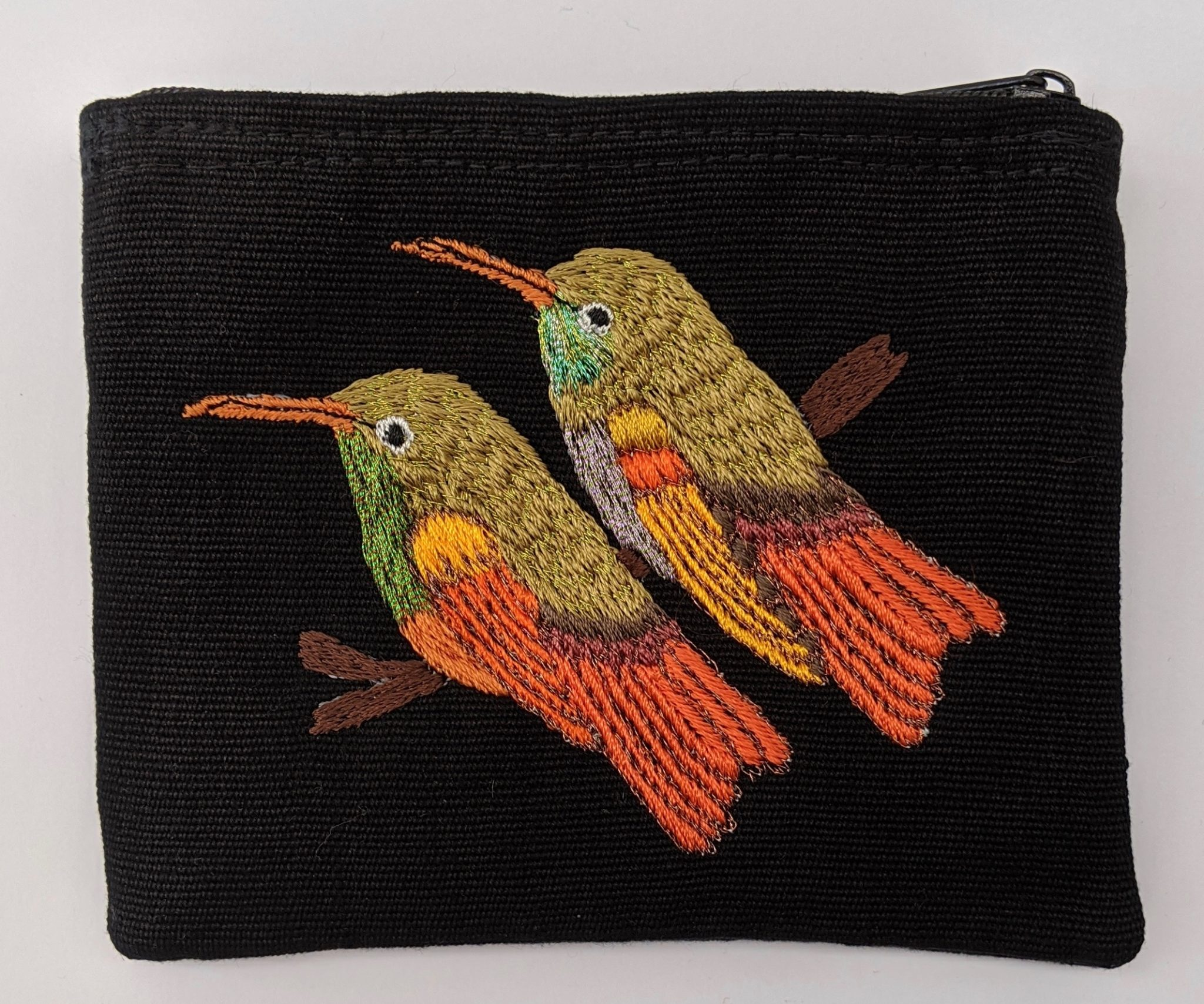 Hummingbirds Thread Painted Cotton Coin Purse